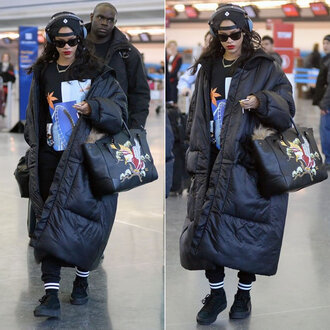 bag rihanna jumper sweater hair accessory headphones shoes coat