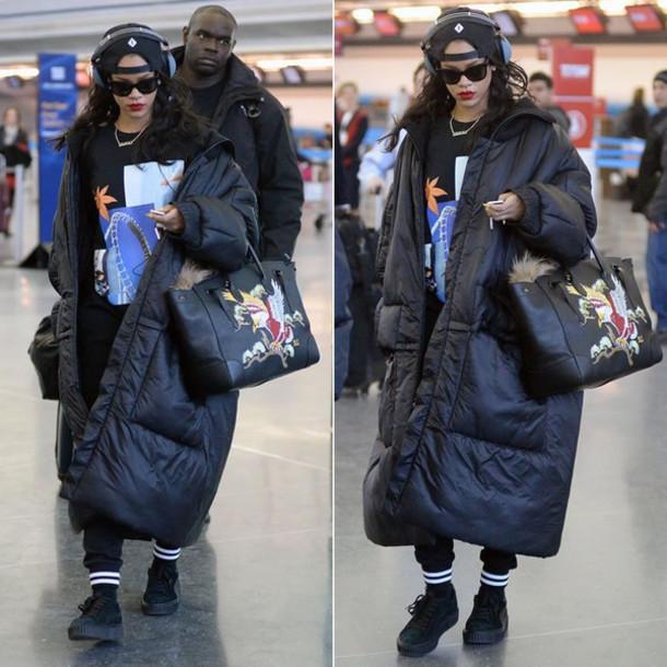 bag rihanna jumper sweater hair accessory headphones shoes coat