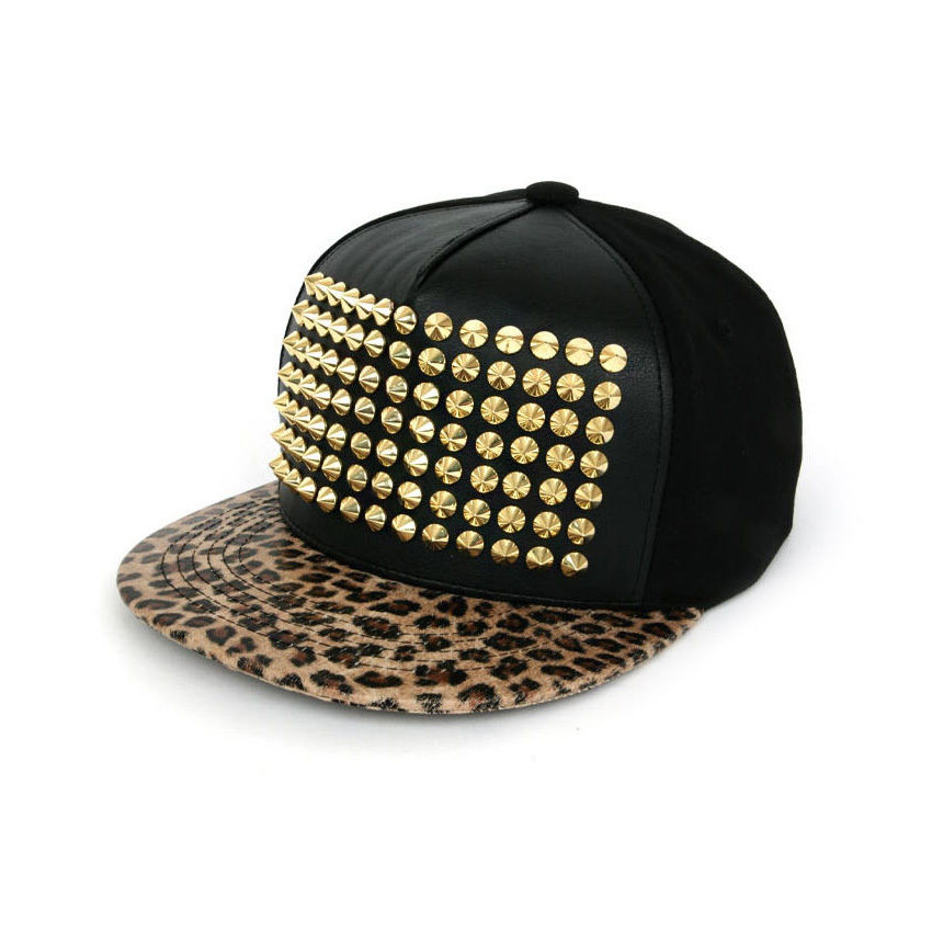 New Gold Stud Leopard Faux Leather Fashion Hip Hop Snapback Cap Club Black Hats | eBay