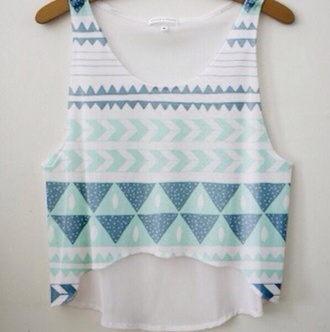 shirt tribal pattern crop tops crop tops love tribal crop top belly t-shirt belly top blouse blue white