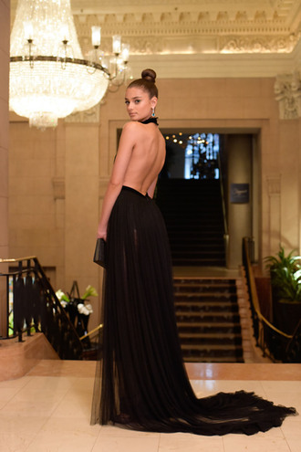 dress taylor hill model black dress prom dress red carpet dress backless backless dress open back dresses open back maxi dress bun victoria's secret model