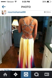 dress,yellow,yellow dress,ombre,pink,blue dress,rainbow,prom dress,colorful,open back,crystal prom dress,rainbow dress,date outfit,diamonds,buy,colorful white dress,long dress,yellow ombré