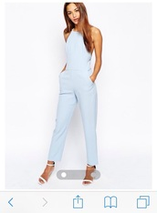 jumpsuit,perfect,light blue,pale,cute,pretty,love,back free