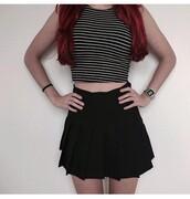 dress,white,black and white,stripes,skirt,Casio,watch,hipster,girly,classy,black,crop,crop tops,skater skirt,skater
