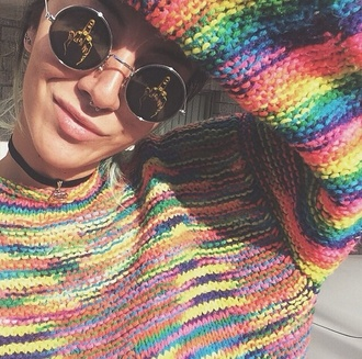 colorful colorful sweater round sunglasses middle finger septum piercing choker necklace rainbow rainbow sweater knitted sweater colorful knit sweater hipster swimwear sunglasses sweater tie dye sweater hippie girly cute summer spring fall sweater knitwear multicolor tie dye