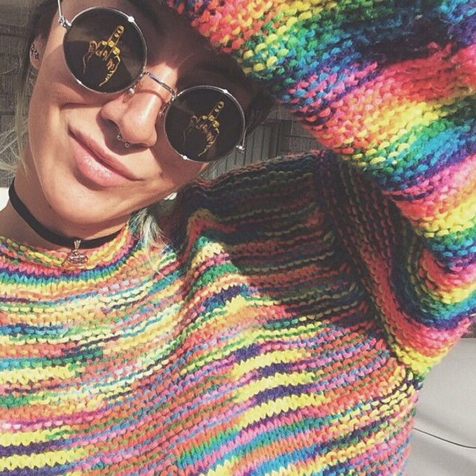 middle finger swimwear hipster sunglasses colorful colorful sweater circle sun glasses septum piercing choker necklace rainbow rainbow sweater knitted sweater colorful knit sweater the middle