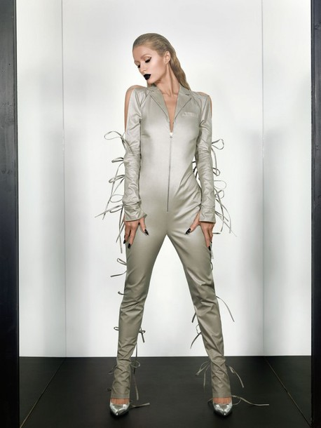 Jumpsuit: metallic, silver, paris hilton, editorial - Wheretoget