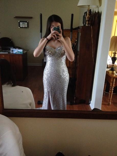 dress flirt silver with split sparkly everywhere