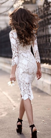dress,white,lace,knee length dress,white lace dress,white lace dress sleeves,long sleeves,Stylish Women's Lace Cut Out Over Hip 3/4 Sleeve Pure Color Dress,spring,summer,romantic summer dress,feminine,fashion,style,rose wholesale-dec,crochet,lace dress,white lace,long sleeve dress,midi dress,romantic dress,bodycon dress,bodycon,white dress,midi,party dress,sexy party dresses,sexy dress,party outfits,summer dress,summer outfits,classy dress,classy,elegant dress,cocktail dress,date outfit,birthday dress,graduation dress,short prom dress