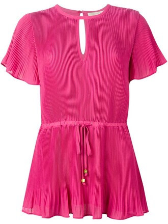 blouse pleated women drawstring purple pink top