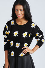 Boohoo Lisbeth Daisy Patterned Jumper In Black | eBay