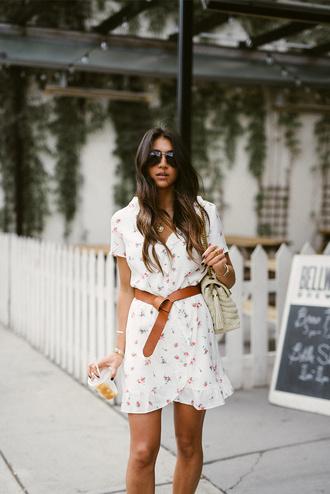 dress tumblr mini dress white dress floral floral dress belt sunglasses bag