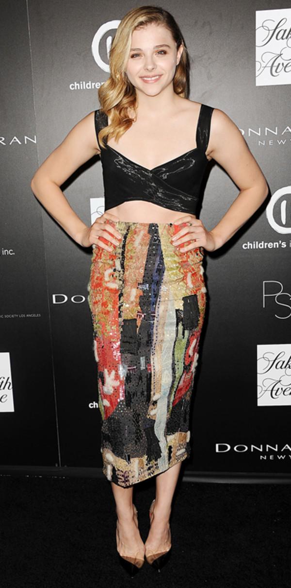 skirt pencil skirt top crop tops chloe grace moretz multicolor midi skirt