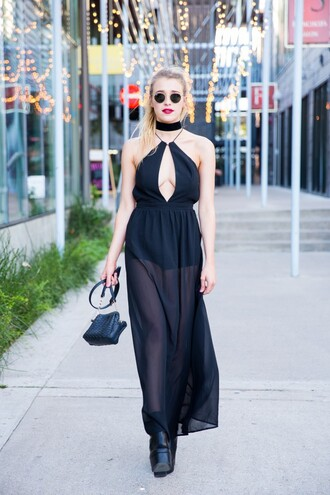 hustle and halcyon blogger shoes black dress halter dress sheer see through dress black bag choker necklace black boots all black everything