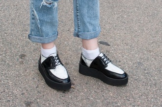 shoes creepers black and white leather leather shoes