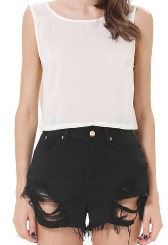 shorts black black shorts ripped shorts distressed shorts cute girl girly top tank top spring summer ootd outfit style tumblr
