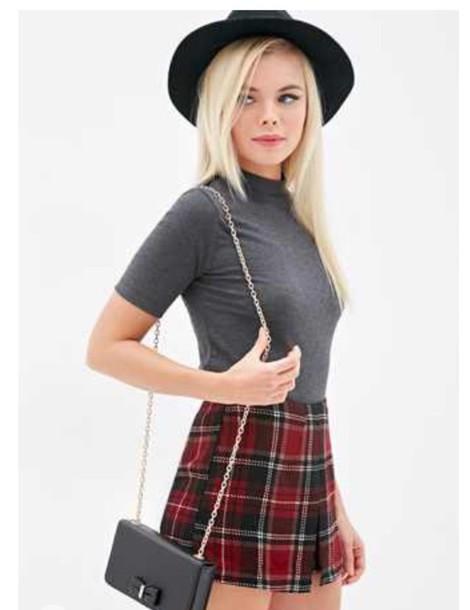 bag forever 21 hat style plaid skirt