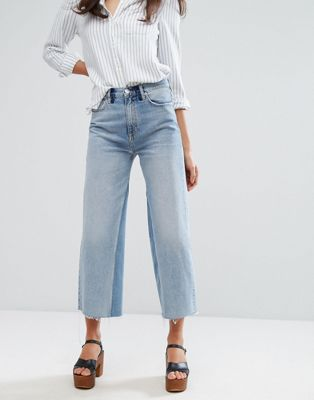 M.i.h Jeans Crop Wide Leg Jean with Contrast Vintage Wash and Raw Hem at asos.com