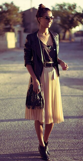 skirt rock boho style fashion cool city casual urban leather jacket pleated skirt