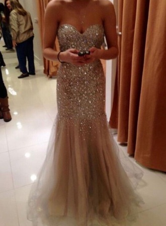 dress prom dress gown prom gold champagne dress fitted dress mermaid prom dress