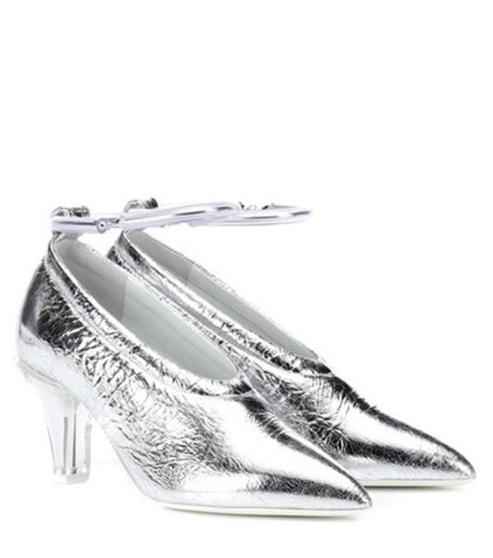 Jil Sander Metallic leather pumps in silver