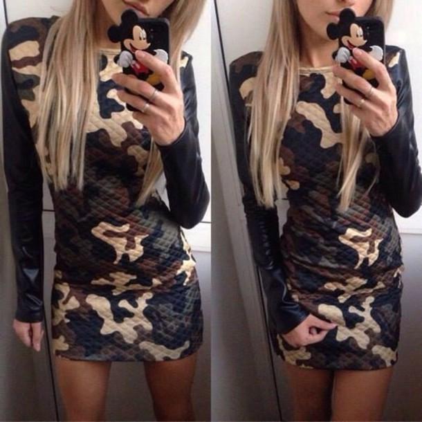dress camuflage camo dress mini dress