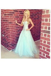 dress,prom dress,blue,blue dress,beautiful,blonde hair,strapless dress,strapless