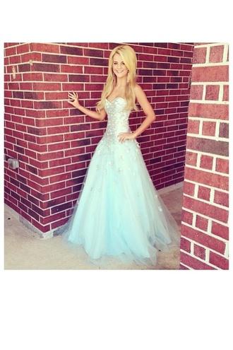dress blue prom dress blue dress beautiful blonde hair strapless dress strapless