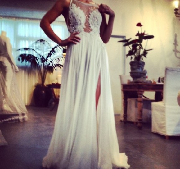 wedding dress wedding clothes white dress floral dress see through flowers dress