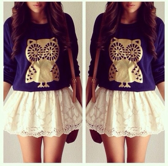 owl bag skirt white lace navy blue gold long sleeve brown sweater blouse shirt t-shirt