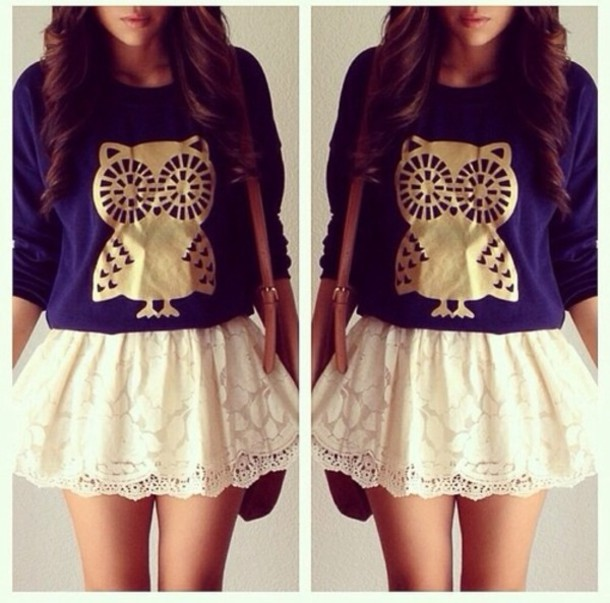 Sweater: skirt, white, lace, navy, owl, gold, long sleeves, bag ...