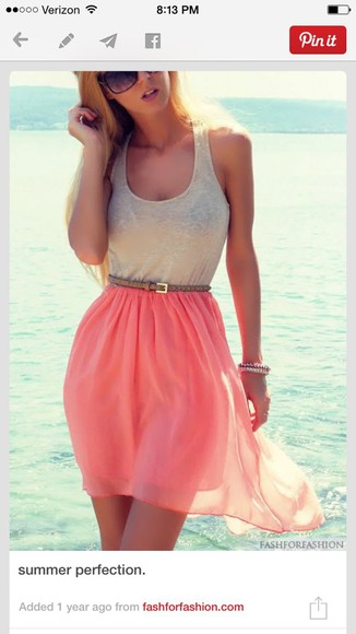 coral coral skirt tank top brown belt