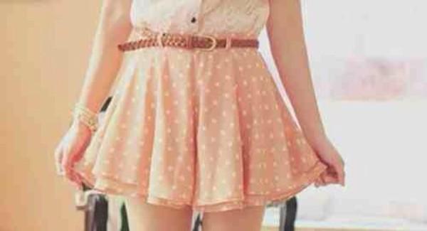 skirt pink skirt polka dots cute skirt belt