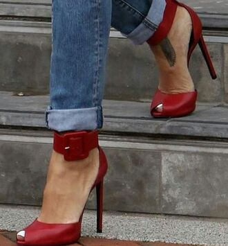 shoes red rihanna ankel strap heels rihanna style pumps stilettos buckle