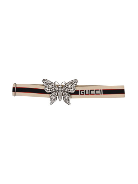 35cdbfafb33 Gucci Crystal Butterfly Belt in black   white - Wheretoget