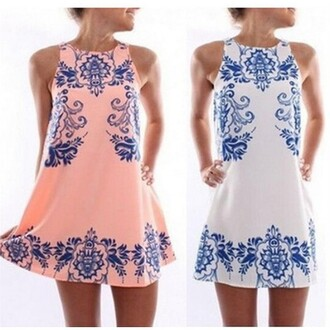 dress printed vintage porcelain pattern sleeveless dress white pink colorful casual sexy party dress summer dress best outfit oversize floral flowers elegant gorgeous lady fashion
