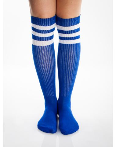 Royal Blue And White Athletic Stripe Knee High Socks