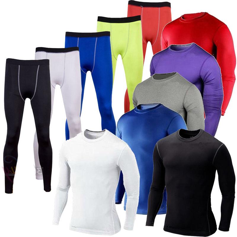 Men compression base layer tight pants tops shirt under skin sport gear gym wear