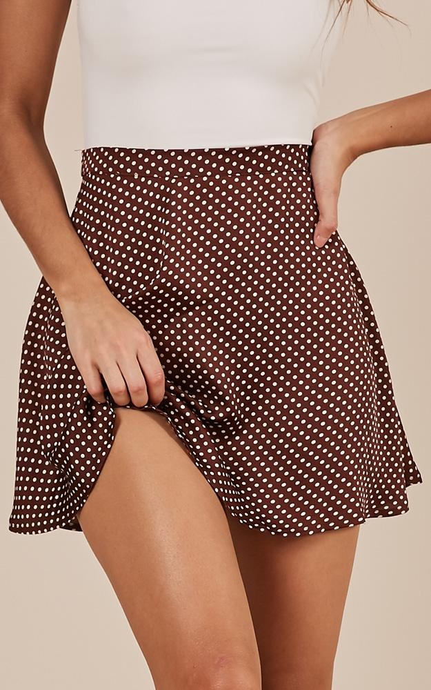 By Definition skirt in brown polka dot Produced By SHOWPO