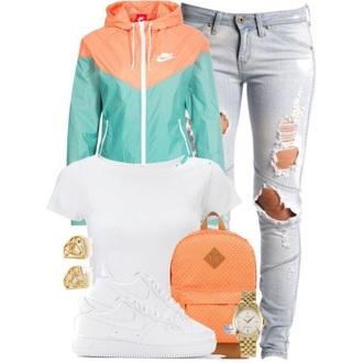jacket nike windbreaker outfit casual mint orange white jeans