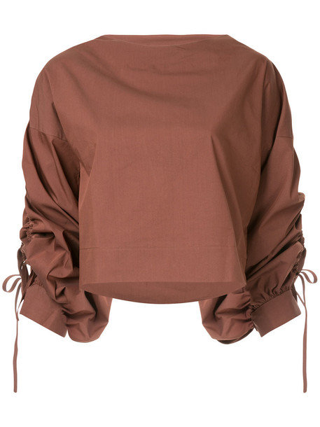 Aula top women cotton brown