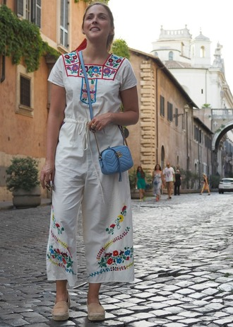 blogger jumpsuit top pants shirt shoes bag jewels embroidered blue bag gucci crossbody bag espadrilles summer outfits
