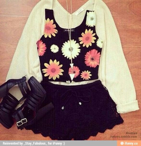 shorts floral shirt