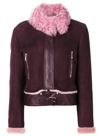 jacket shearling jacket women purple pink