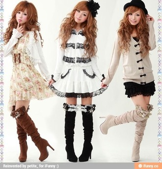 jacket boots heels brown boots black boots bows dress floral dress white dress black and white dress black and white coat lace ruffle black ruffled skirt bow sweater pearl