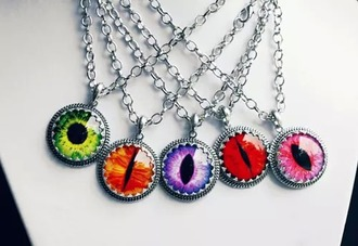 jewels eye dragon dragon eye necklace vintage retro mystical purple blue green red pink orange