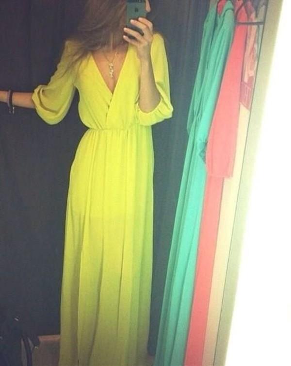 dress flowy dress yellow color/pattern maxi dress