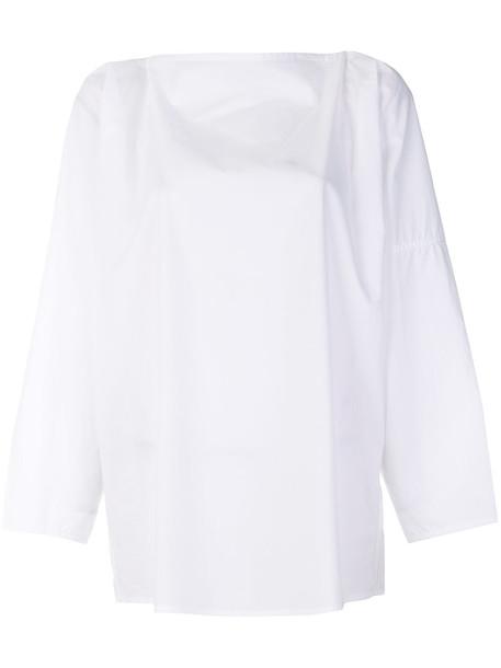 Sofie D'hoore - long sleeve boat neck top - women - Cotton - 38, White, Cotton