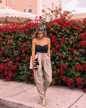 top,tumblr,black top,tube top,pants,nude pants,shoes,bag,hair accessory,hair bow,spring outfits