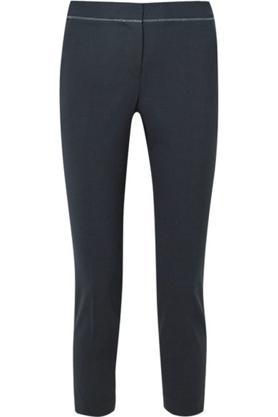BRUNELLO CUCINELLI pants cropped tropical embellished navy wool